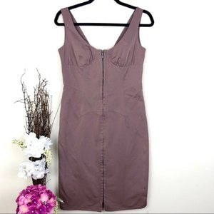 Hugo Boss Bodycon taupe party dress front zipper
